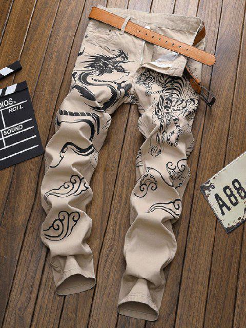 Pantaloni in Denim con Stampa Tigre - caffè leggero 36 Mobile