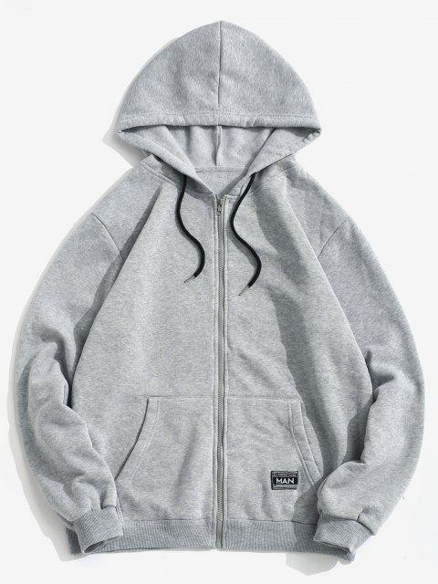 buy Patch Fleece Hoodie And Sweatpants Two Piece Set - LIGHT GRAY 2XL Mobile
