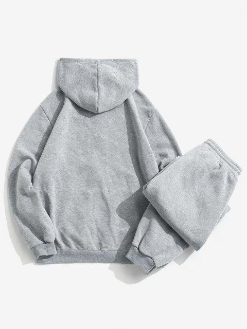 unique Patch Fleece Hoodie And Sweatpants Two Piece Set - LIGHT GRAY XL Mobile