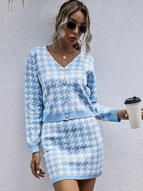 hot Houndstooth Cardigan and Mini Skirt Two Piece Set - LIGHT BLUE M Mobile