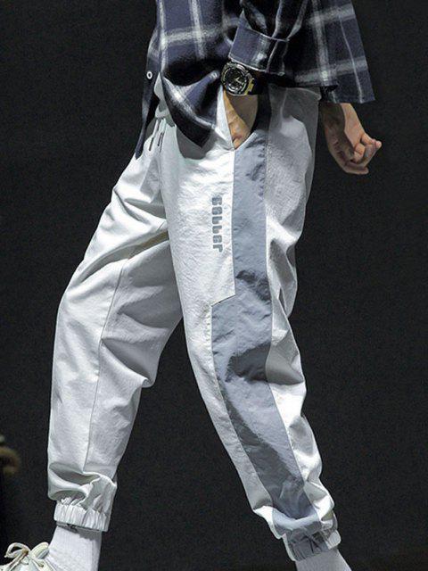 Kontrast Jogger Hose mit Buchstabendruck und Tunnelzug - Weiß L Mobile