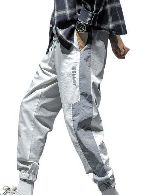 Pantalones Trotar Diseño Impreso Letras Grandes Contrastadas Cordón - Blanco S Mobile