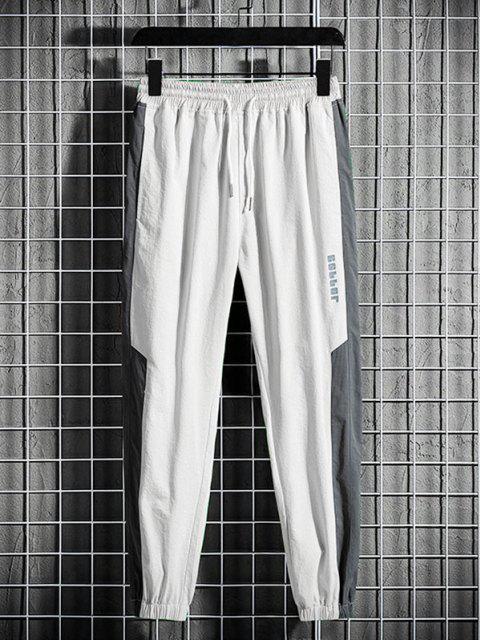 Pantalones Trotar Diseño Impreso Letras Grandes Contrastadas Cordón - Gris M Mobile