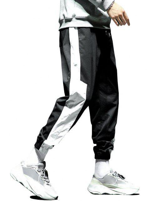 Pantalones Trotar Diseño Impreso Letras Grandes Contrastadas Cordón - Negro M Mobile