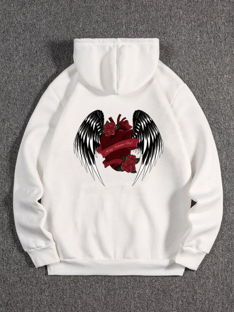 women Rose Heart Wing Happy Valentine's Day Print Fleece Hoodie - WHITE L Mobile
