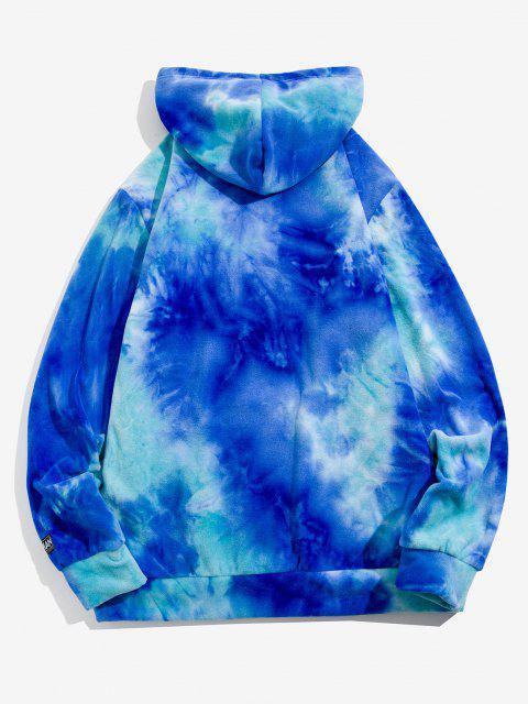 womens Sun Moon Star Print Tie Dye Polar Fleece Hoodie - BLUE M Mobile