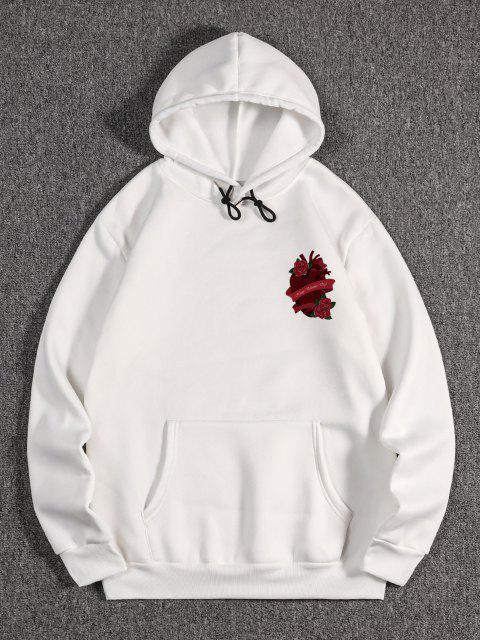 women Rose Heart Wing Happy Valentine's Day Print Fleece Hoodie - WHITE M Mobile