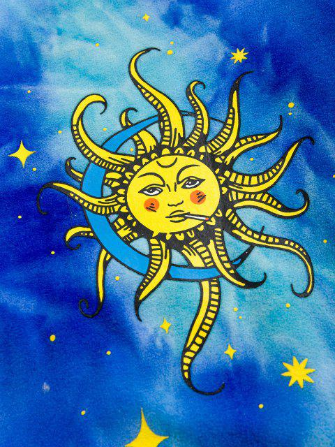 best Sun Moon Star Print Tie Dye Polar Fleece Hoodie - BLUE XL Mobile