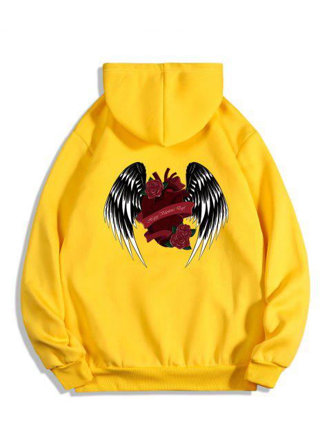 outfits Rose Heart Wing Happy Valentine's Day Print Fleece Hoodie - BRIGHT YELLOW XL Mobile