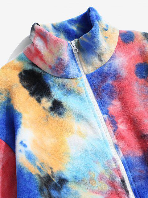 unique Tie Dye Pattern Zip Up Fleece Jacket - MULTI-A XL Mobile