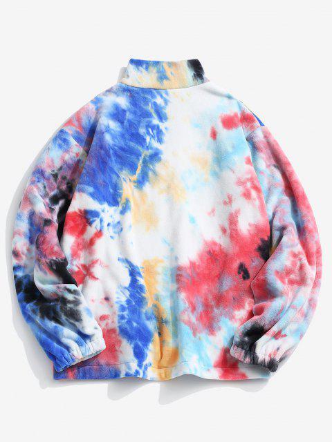 buy Tie Dye Pattern Zip Up Fleece Jacket - MULTI-A S Mobile