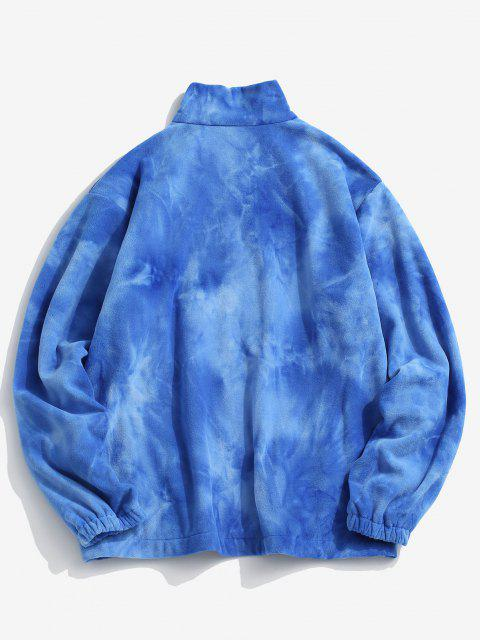 womens Tie Dye Pattern Zip Up Fleece Jacket - BLUE S Mobile