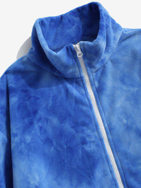 affordable Tie Dye Pattern Zip Up Fleece Jacket - BLUE L Mobile