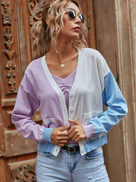 lady Button Up Colorblock Cardigan - LIGHT PURPLE M Mobile