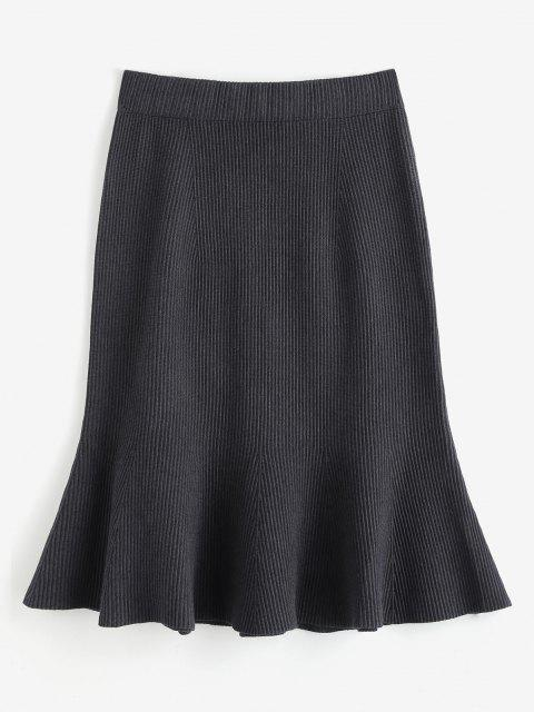 best Knitted Midi Mermaid Skirt - GRAY ONE SIZE Mobile
