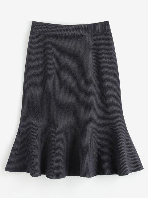 best Knitted Midi Mermaid Skirt - GRAY ONE SIZE Mobile