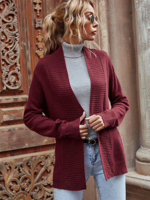 fancy Open Front Belted Cardigan - DEEP RED S Mobile
