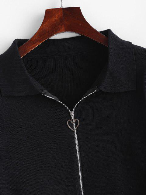 affordable Double Zip Heart Ring Slim Knit Cardigan - BLACK ONE SIZE Mobile