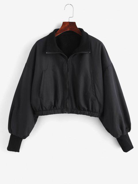 Zip Up Fleece Lined Bomber Jacket - أسود S Mobile