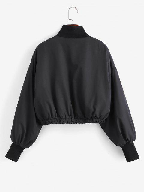 fashion Zip Up Fleece Lined Bomber Jacket - BLACK M Mobile