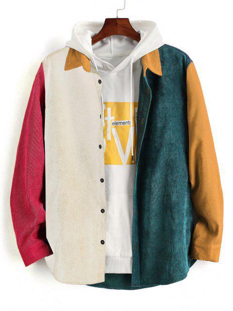 latest Colorblock Panel Long Sleeve Corduroy Shirt - BEE YELLOW L Mobile