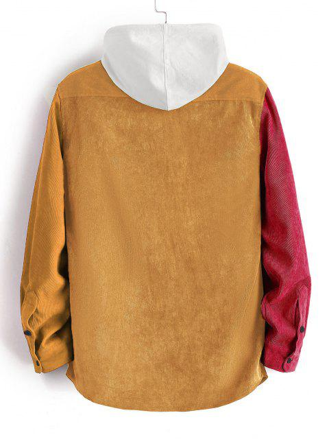 outfit Colorblock Panel Long Sleeve Corduroy Shirt - BEE YELLOW M Mobile