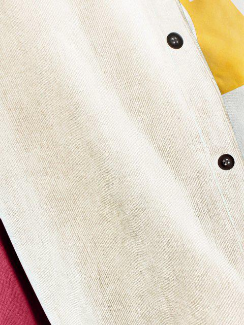 women Colorblock Panel Long Sleeve Corduroy Shirt - BEE YELLOW 2XL Mobile