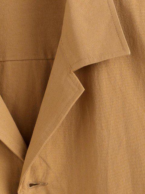 ボタン付きノッチ襟フラップポケットジャケット - 黄 S Mobile