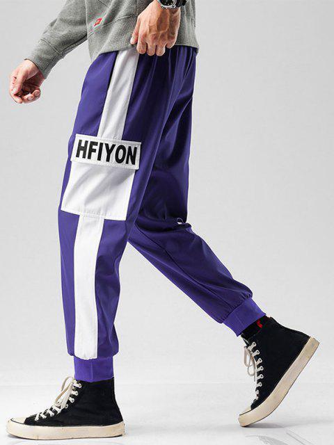 Pantalones de Bloqueo de Color con Bolsillo y Estampado de Letras - Púrpura M Mobile