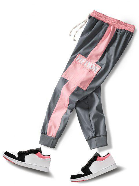 Buchstabedruck Tasche Patch Farbblock Hose - Grau XS Mobile