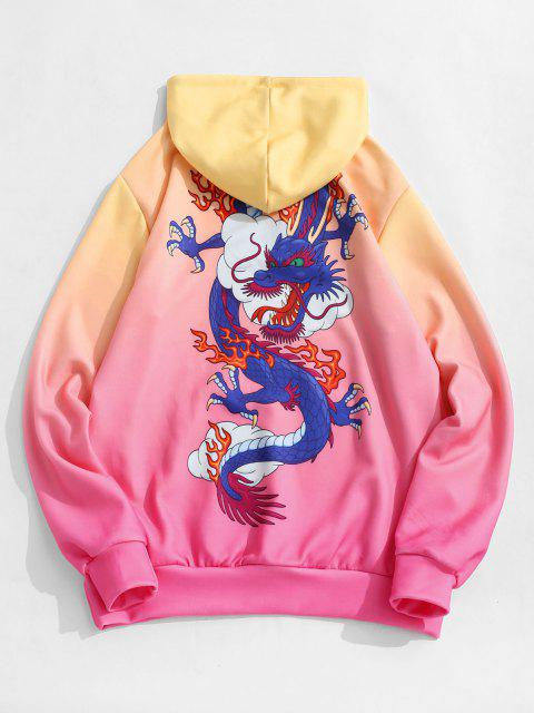 latest Kangaroo Pocket Dragon Cloud Ombre Print Hoodie - BEAN RED L Mobile