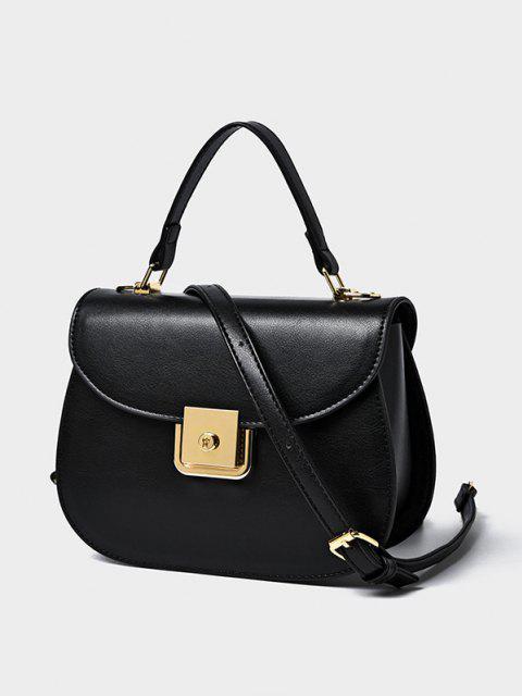 online PU Leather Flap Saddle Bag - BLACK  Mobile