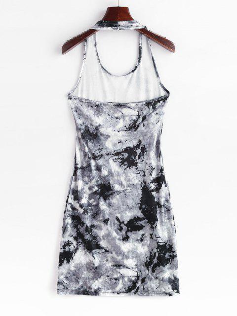 Krawattenfärben Samt Neckholder Bodycon Kleid - Grau M Mobile