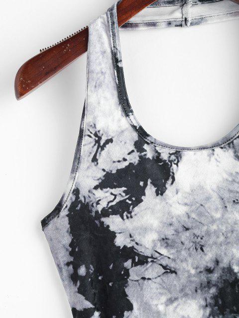 ladies Tie Dye Velvet Halter Bodycon Dress - GRAY S Mobile