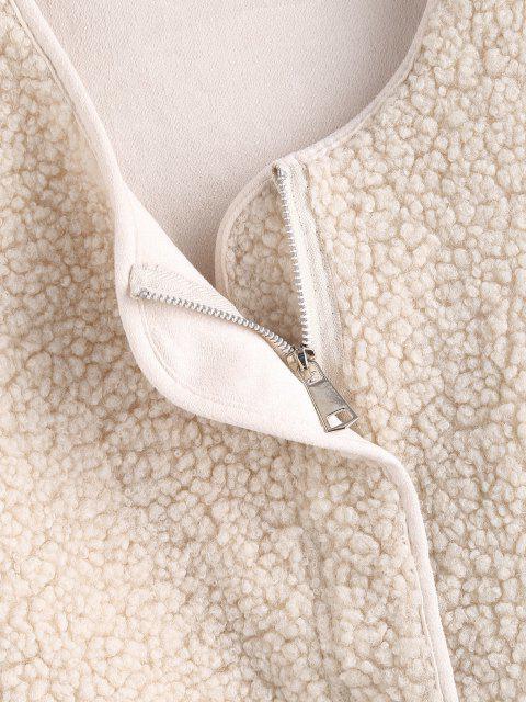 unique Faux Shearling Zip Pocket Teddy Vest - WHITE L Mobile