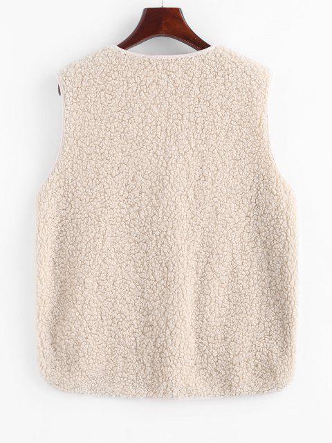 Künstliche Lammfell Reißverschluss Taschen Teddy Weste - Weiß L Mobile