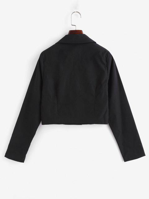 Notch Lapel Buckle Cropped Jacket - أسود L Mobile