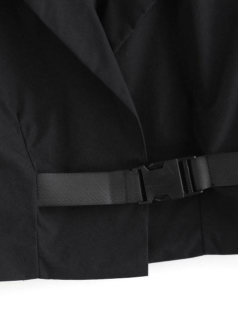 sale Notch Lapel Buckle Cropped Jacket - BLACK M Mobile