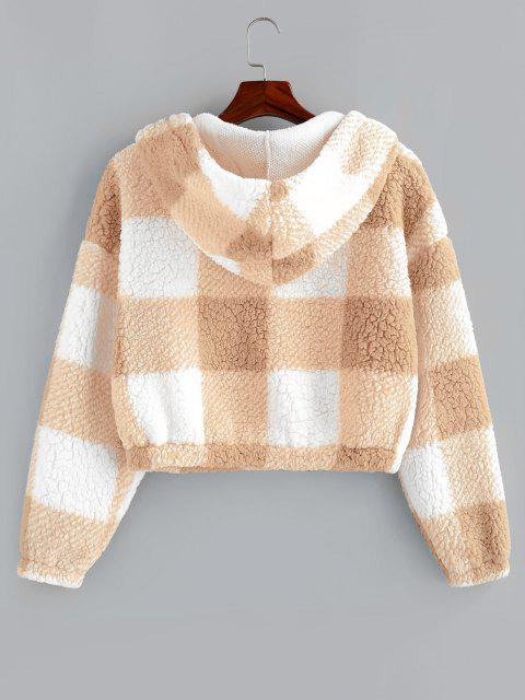 outfit ZAFUL Colorblock Short Teddy Hoodie - BLANCHED ALMOND S Mobile