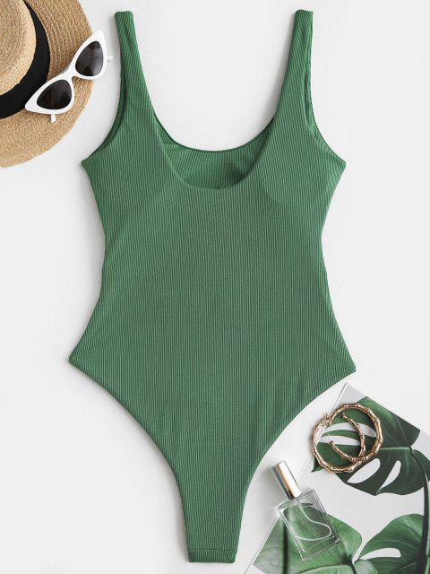 women's ZAFUL Ribbed Cutout Underboob One-piece Swimsuit - LIGHT GREEN S Mobile
