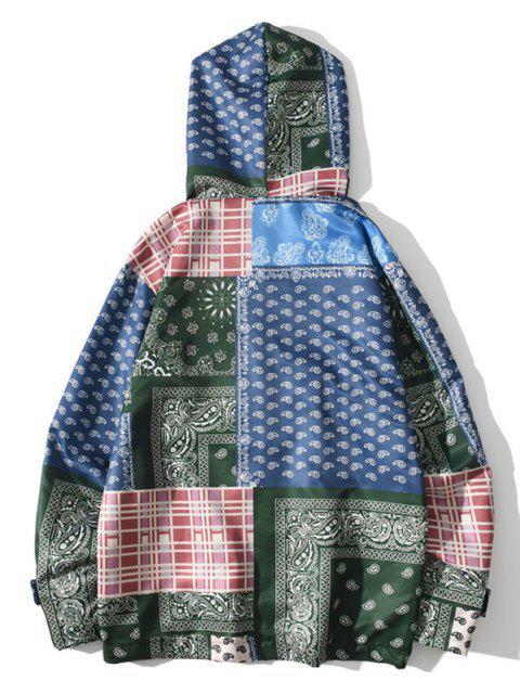 women's Hooded Bohemian Patchwork Print Jacket - DENIM DARK BLUE 2XL Mobile