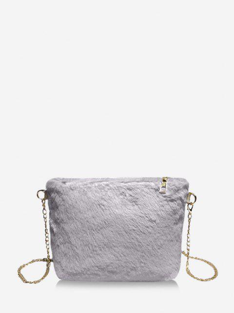 Faux Fur Chain Crossbody Bag - ازرق رمادي  Mobile