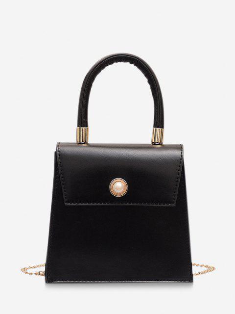Faux Pearl Detail Chain Strap Crossbody Bag - أسود  Mobile