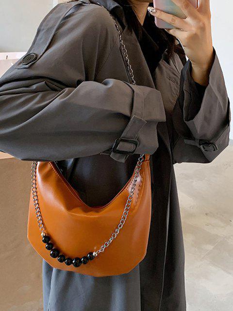 Freizeit Kette Perlen Umhängetasche - Braun  Mobile