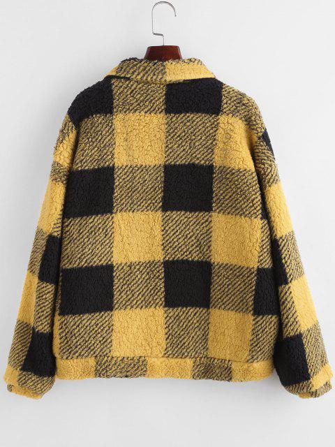 Plaid Faux Shearling Drop Shoulder Teddy Coat - الأصفر L Mobile