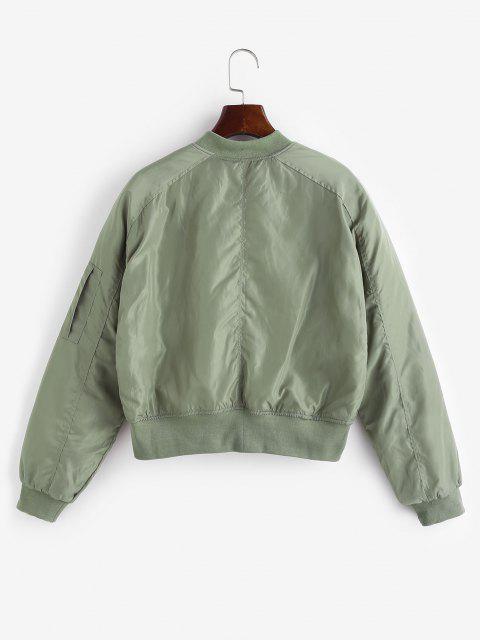 Quilted Pocket Raglan Sleeve Zipper Coat - اخضر فاتح M Mobile