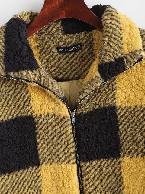 buy Plaid Faux Shearling Drop Shoulder Teddy Coat - YELLOW M Mobile