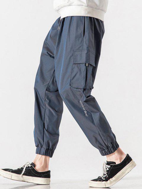 Buchstabe Gestickte Multi Taschen Reflektierende Cargohose - Lapisblau M Mobile
