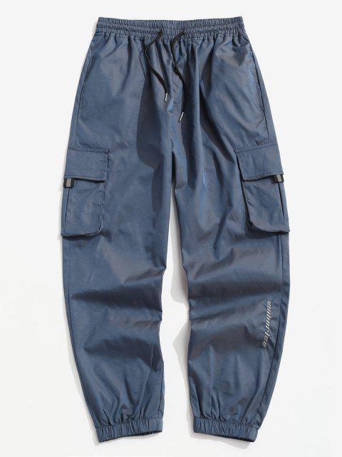 Buchstabe Gestickte Multi Taschen Reflektierende Cargohose - Lapisblau L Mobile