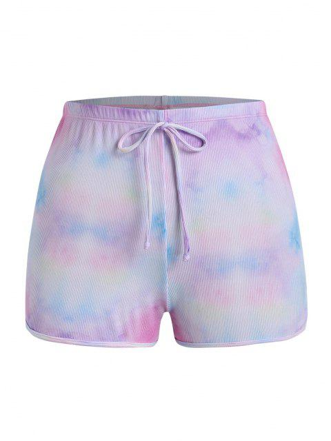 shop ZAFUL Plus Size Ribbed Tie Dye Bowknot Swim Bottom - LIGHT PURPLE XXXXL Mobile